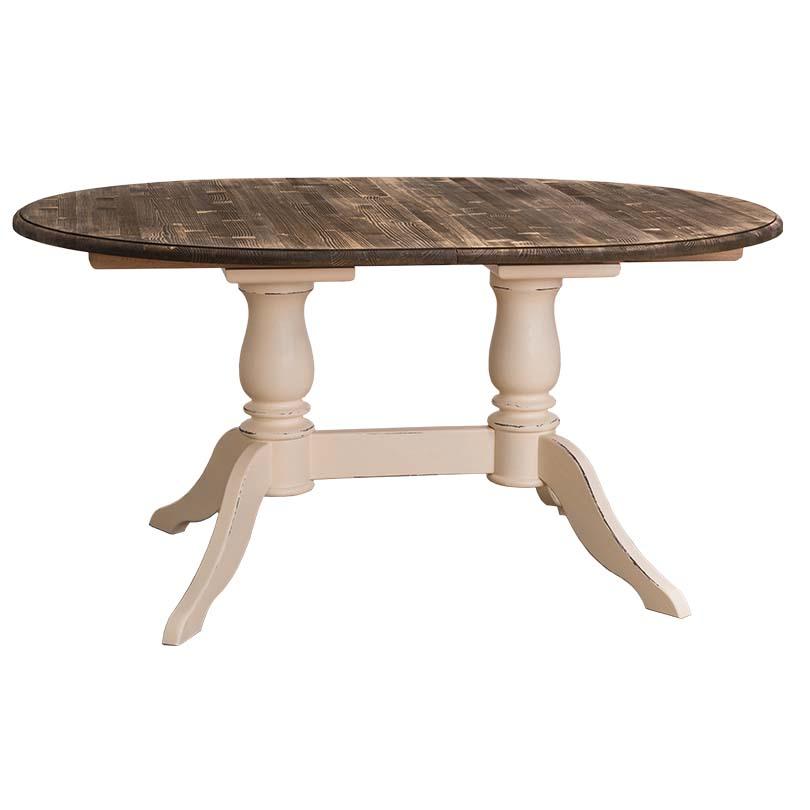 Table ovale extensible avec 2 pieds en bois massif le for Table extensible en bois massif