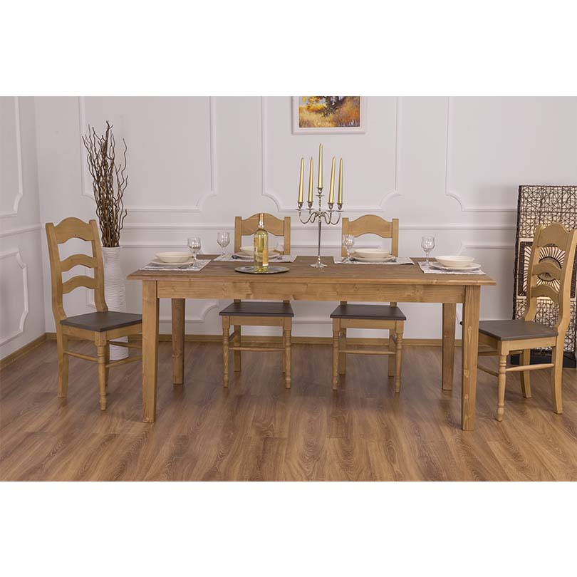 table de salle manger rectangulaire en bois massif le d p t des docks. Black Bedroom Furniture Sets. Home Design Ideas