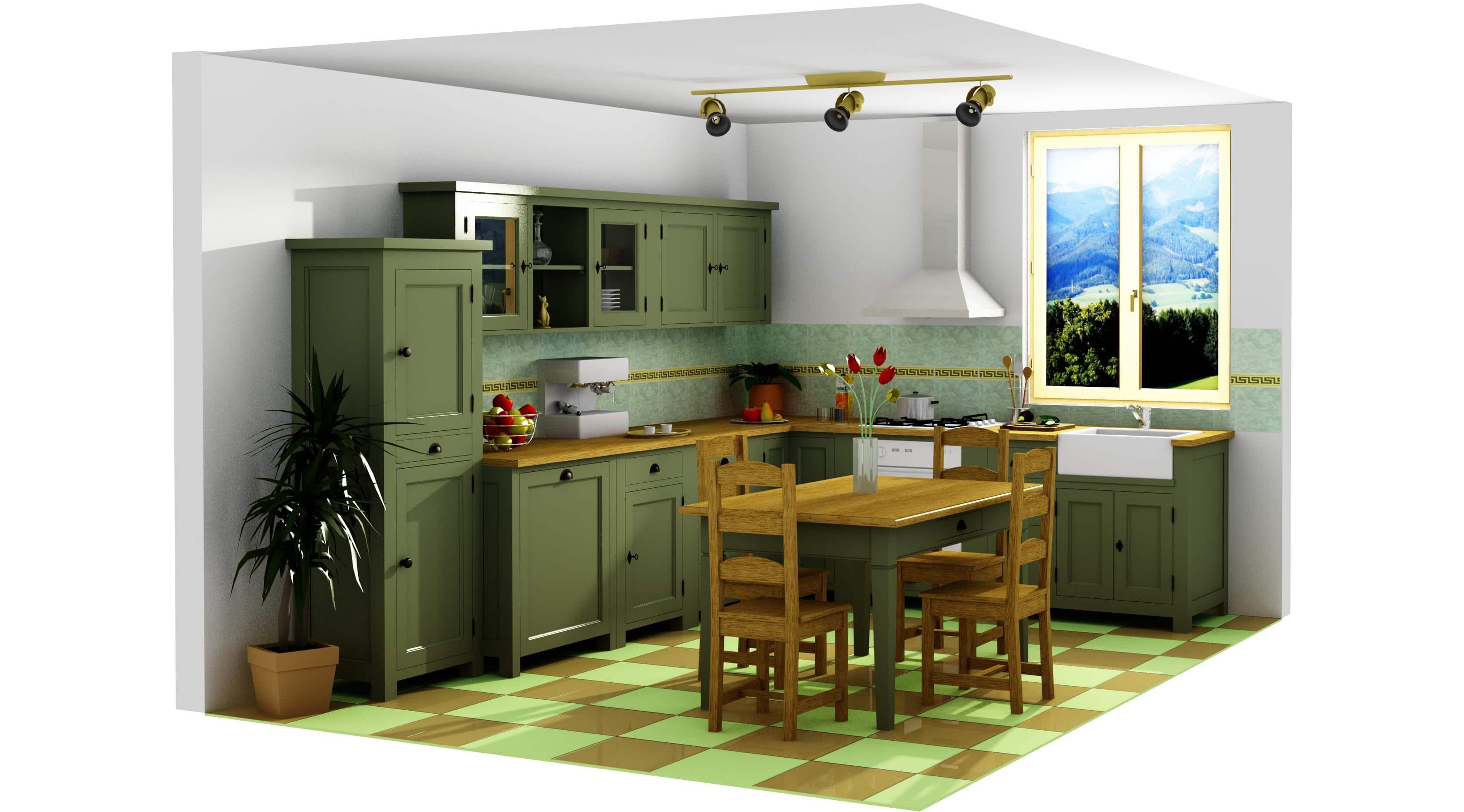 Projet 3d de cuisine compl te avec table manger le for Projet de cuisine en 3d