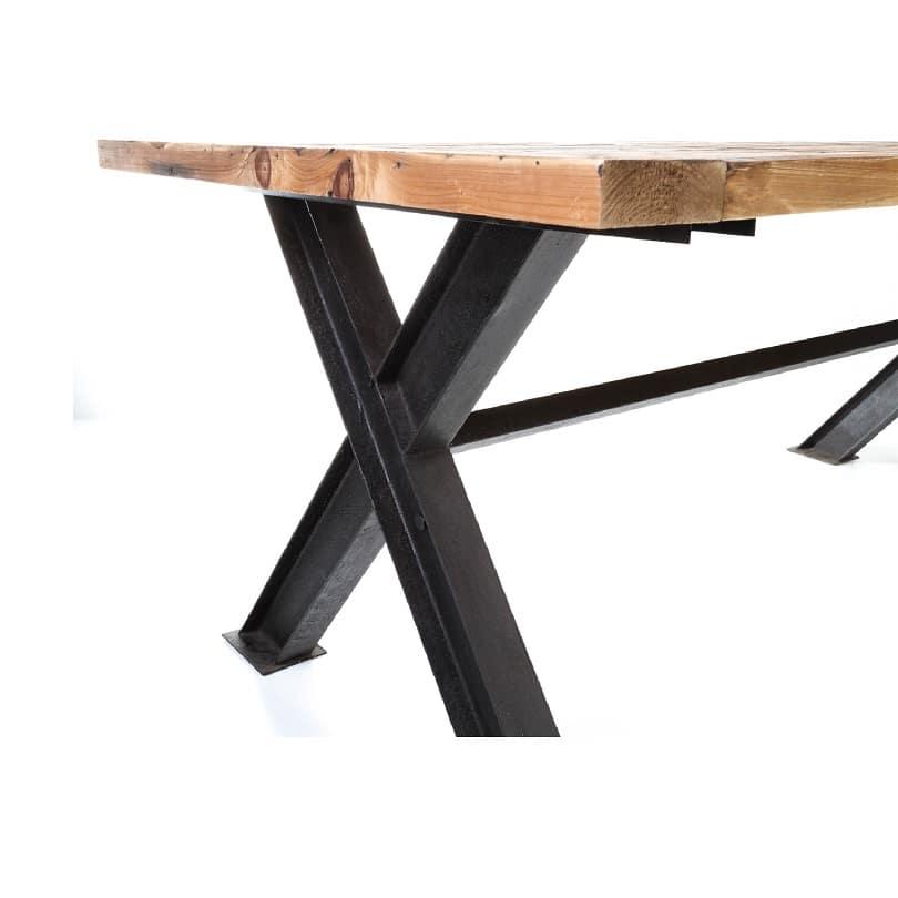 table manger vintage industrielle m tal vieux bois 250 x 100 cm le d p t des docks. Black Bedroom Furniture Sets. Home Design Ideas
