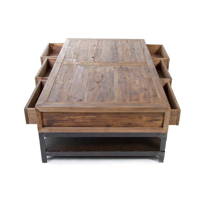 Table de salon vintage industrielle m tal vieux bois - Table basse zinc bois ...