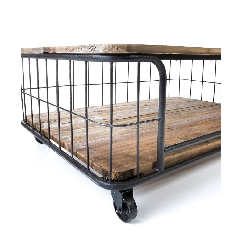 table basse cage vintage industrielle m tal vieux bois le d p t des docks. Black Bedroom Furniture Sets. Home Design Ideas