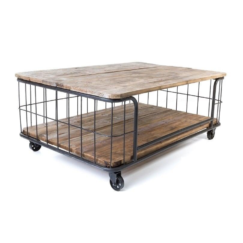 Table Basse Cage Vintage industrielle métal & Vieux Bois - Le Dépôt ...
