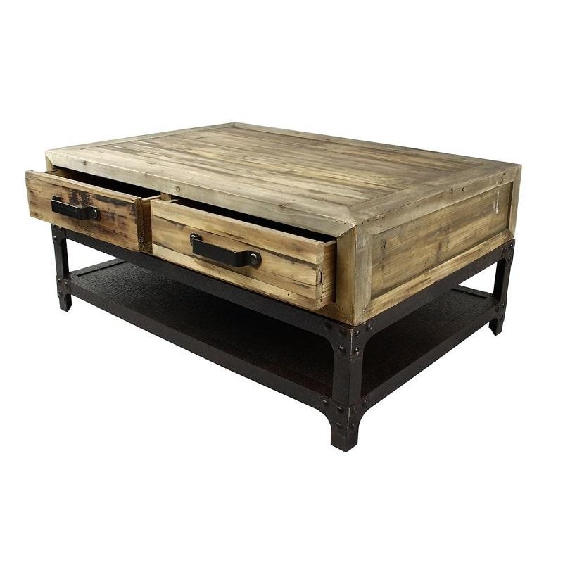table basse vintage industrielle m tal vieux bois le d p t des docks. Black Bedroom Furniture Sets. Home Design Ideas