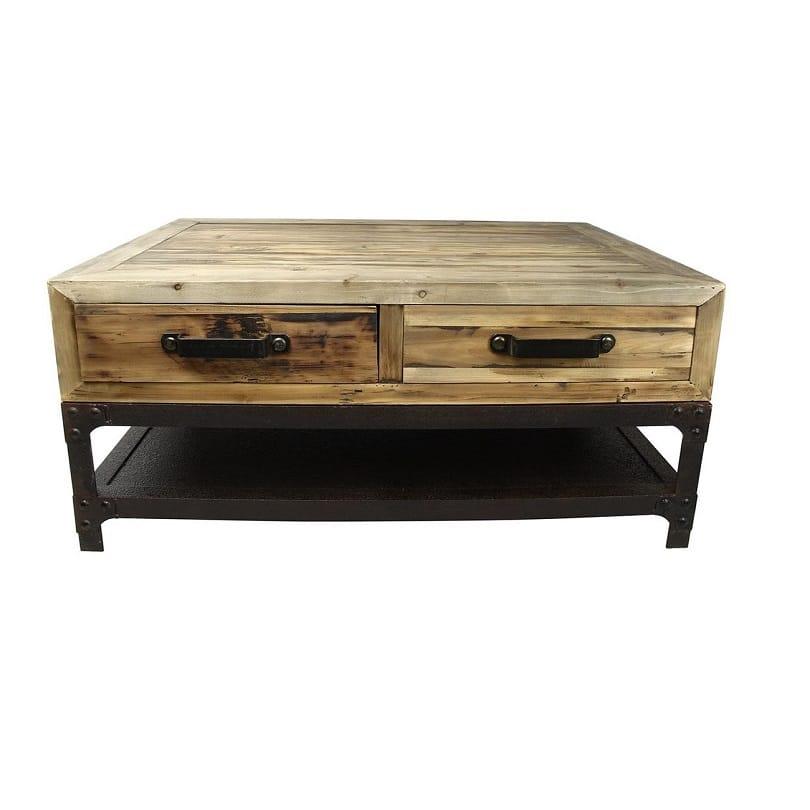 Table Basse vintage industrielle métal& Vieux Bois Le Dép u00f4t des Docks # Table Basse Industrielle Bois