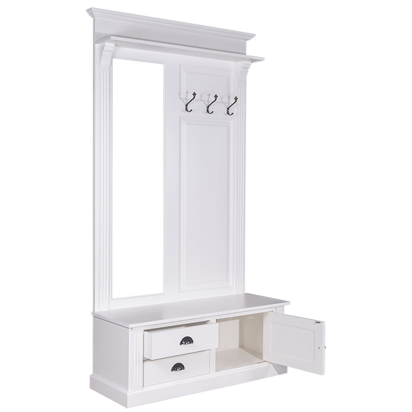 vestiaire porte manteau avec miroir 1 porte 2 tiroirs 3 pat res romane le d p t des docks. Black Bedroom Furniture Sets. Home Design Ideas